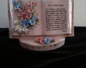 On Sale 1940's 1950's Vintage Pink Flower Vase * The Lord's Prayer Book * Mid Century Collectible