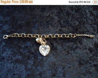 Now On Sale Vintage Gold Heart Charm Bracelet