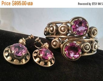 On Sale Los Ballesteros Sterling Silver Wide Clamper Bracelet Earring Set - 1930's 1940's Mexico Mexican 925 Taxco Alexandrite Signed Jewelr