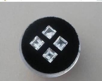 ON SALE 4 White Topaz Square gems 5mm each