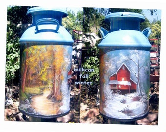 CUSTOM hand-painted MILK CANS