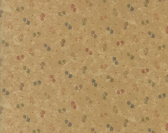 20 % off thru 7/4 OAK HAVEN moda fabric by 1/2 yard Kansas Troubles Quilter-tiny multi color swirls on tan 9526-11