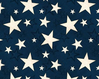 20 % off thru 8/20 COLORS Of FREEDOM- cream stars on  blue  flag by the half yard Wilmington fabric- 82467-411