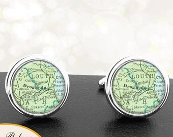 Map Cufflinks Drogheda Ireland Handmade Cuff Links Irish City Maps Groomsmen Weddings Fathers Dads