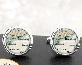Map Cufflinks Hong Kong China Cuff Links for Groomsmen Groom Fiance Anniversary Wedding Party Fathers Dads Men