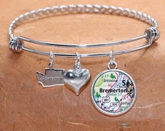 Bremerton WA Map Charm Bracelet State of Washington Bangle Cuff Bracelet Vintage Map Jewelry Stainless Steel Bracelet