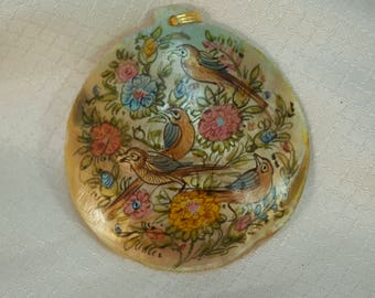 Vintage Persian Hand Painted  Birds and Flowers Mother of Pearl Pendant