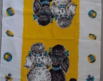 Vtg. Unused Tea Towel ~~ Poodle Pups