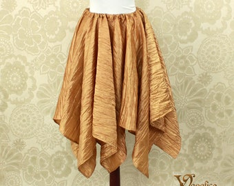 "Steampunk Fairy Honey Gold Crushed Taffeta Pointed Petal Skirt -- 8 Points, 31"" Point Length -- Fits up to 40"" Waist, Ready to Ship!"