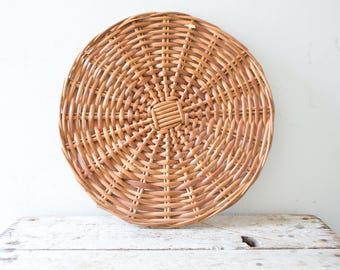 Woven Vintage Basket Plate - Natural - Wicker Woven Wooden Natural Brown Tan Basket