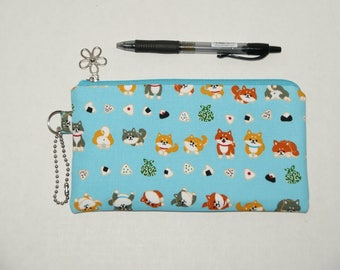 "Padded Zipper Pouch / Pencil Case / Cosmetic Bag Made with Japanese Cotton Fabric ""Mame Shiba - Musubi"" Blue"