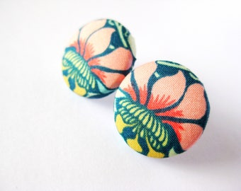 Fabric covered button earrings with floral pattern, lotus, peach, green, yellow