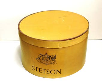 Stetson Hat Box, Vintage Cowboy Hat Storage Container, Western Home Decor, Vintage Advertsing itsyourcountry