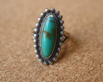 Bell Trading Post RING / Vintage Turquoise Jewelry / Fred Harvey Era Style  Ring Size 4 3/4