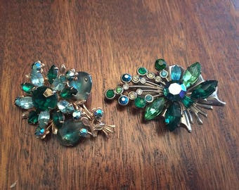 2 Beautiful Vintage Blue and Green Rhinestone Brooch Pin Lot