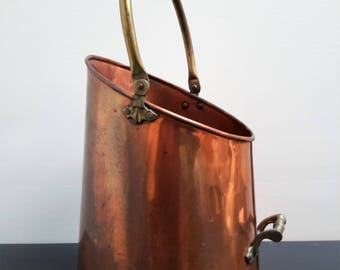 Vintage Fireplace Scuttle Bucket Copper and Brass