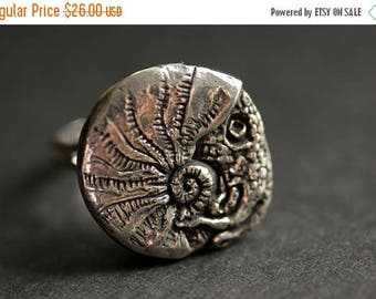 SUMMER SALE Squid Ring. Pewter Button Ring. Beach Button Ring. Adjustable Ring. Silver RIng. Handmade Ring. Pewter Ring. Nautical Jewelry.