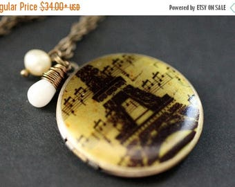 SUMMER SALE Eiffel Tower Locket Necklace. Eiffel Tower Necklace. Paris Locket with White Coral Teardrop and Pearl. France Necklace. Handmade