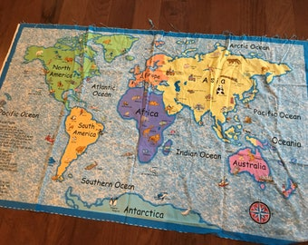 Cloth world map timekeeperwatches world map fabric etsy updated sciox Gallery
