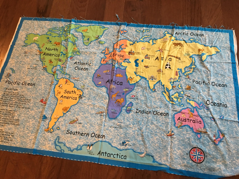 Mapamundi grande tela PANEL fuente pases asia africa con