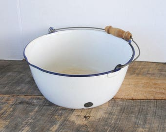 Vintage Enamelware Kettle Large Bucket Pot with Wire Bail Wood Handle White Blue