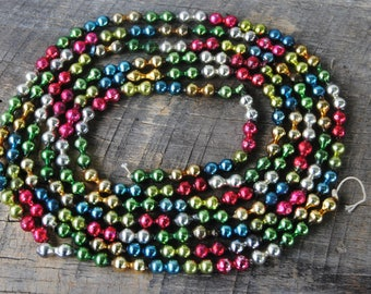 Vintage Multi Color Double Beaded Glass Christmas Tree Garland Strand