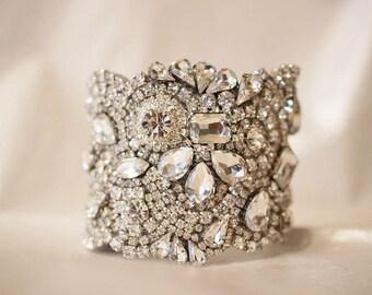 Custom Listing for Carmen, Bridal Bracelet, Wedding Jewelry, Bridal Cuff. Classic All Swarovski Crystal Old Hollywood Rhinestone Cuff