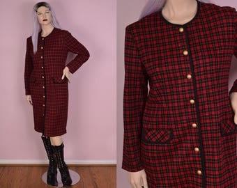 80s Plaid Button Down Dress/ US 12/ 1980s/ Long Sleeve
