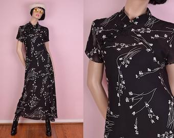 90s Black Sheer Floral Oriental Dress/ Small/ 1990s/ Cheongsam/ Asian Style/ Mandarin Collar