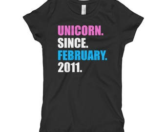 7th Birthday Tee, Unicorn Since February 2011, Birthday Gift Girl's T-Shirt