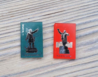"Set of 2 Vintage Soviet Russian glass badges.""Voronezh"""