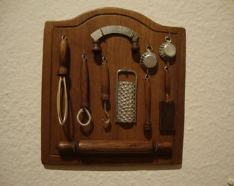 dollhouse  miniature kitchen panel with tools