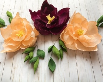 3 PC Crepe Paper Magnolias Set with Greenery