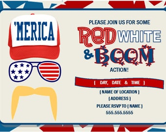 Merica themed 4th of July Party Invitation