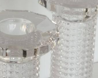 Glamorous Crystal Glass Hollywood Style Pillar Candle Holders Vintage