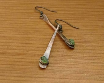 Hammered Copper and Peridot Chip Dangle Earrings