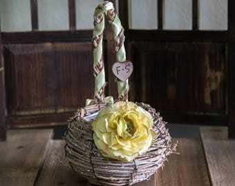 Rustic Natural Grapevine Flower Girl Basket decorated with the flower and ribbon of your choice
