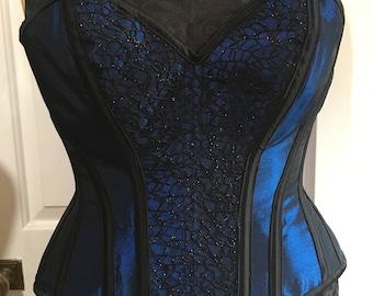 """Blue and black overbust corset (30"""" waist)"""
