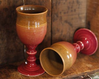 Cranberry Sienna Wine Goblet tumblers cups by village pottery pei