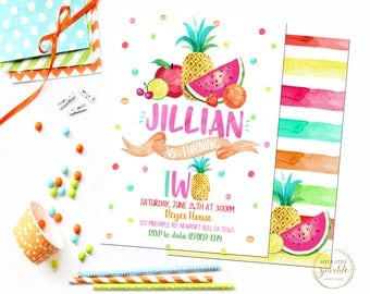 Tutti Fruiti invitation, Tutti Fruiti Birthday invite, Fruit theme party, Tutti Fruiti invitation