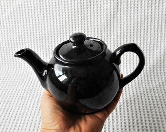 Mini Tea Pot Vintage Black Gloss Ceramic Tea For One Pot