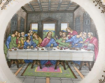 The Last Supper.  CROOKSVILLE China Co., U.S.A.  Gold-patterned china plate.  One only.