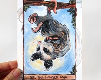 Opossum Print 5x7 // MINOR DEFECTS // Hanged Man Tarot Card, Baby Possum, Animal Lover Gift, Wildlife Decor, Upside Down