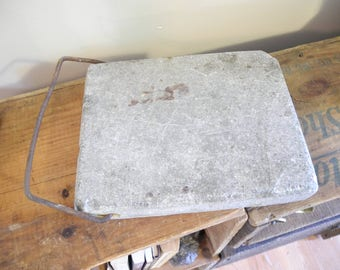 Vermont Soapstone Bed Warmer. Antique Soapstone Foot / Bed Warmer.  Primitive Bed Warmer. Rustic Foot Warmer