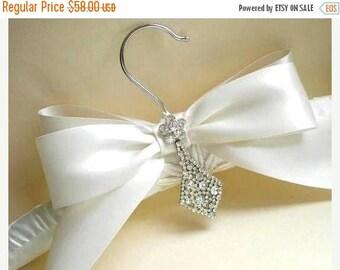 ON SALE Elegant Rhinestone Bling Bridal Hanger. Padded Satin Hanger. Wedding Dress Hanger. Bridal Shower GIFT  Rhinestone Dress Guards. Brid
