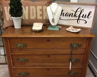 Oak Three Drawer Dresser #202