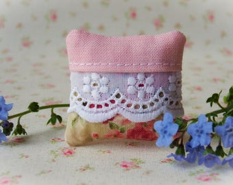 Miniature Pillow One inch scale, pink and floral with eyelet, dollhouse pillow