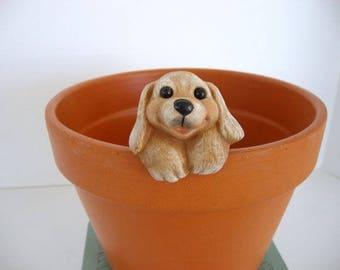 Miniature ceramic flower pot decoration, flower pot hanger, puppy