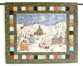 Christmas Quilted Wall Hanging, Snowman Winter Wall Quilt, Winter Village, Christmas Wall Decor, Quiltsy Handmade