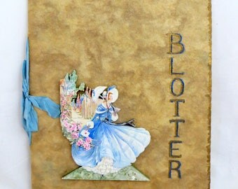 Art Deco Decoupage Blotters, Handcrafted Crinoline Lady & Bird of Paradise 3D Blotting Paper Scrapbooks Journals Keepsakes Sketchbooks 1930s